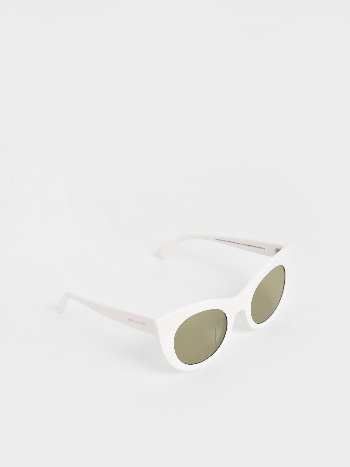 Thick Frame Cat-Eye Sunglasses, White, hi-res