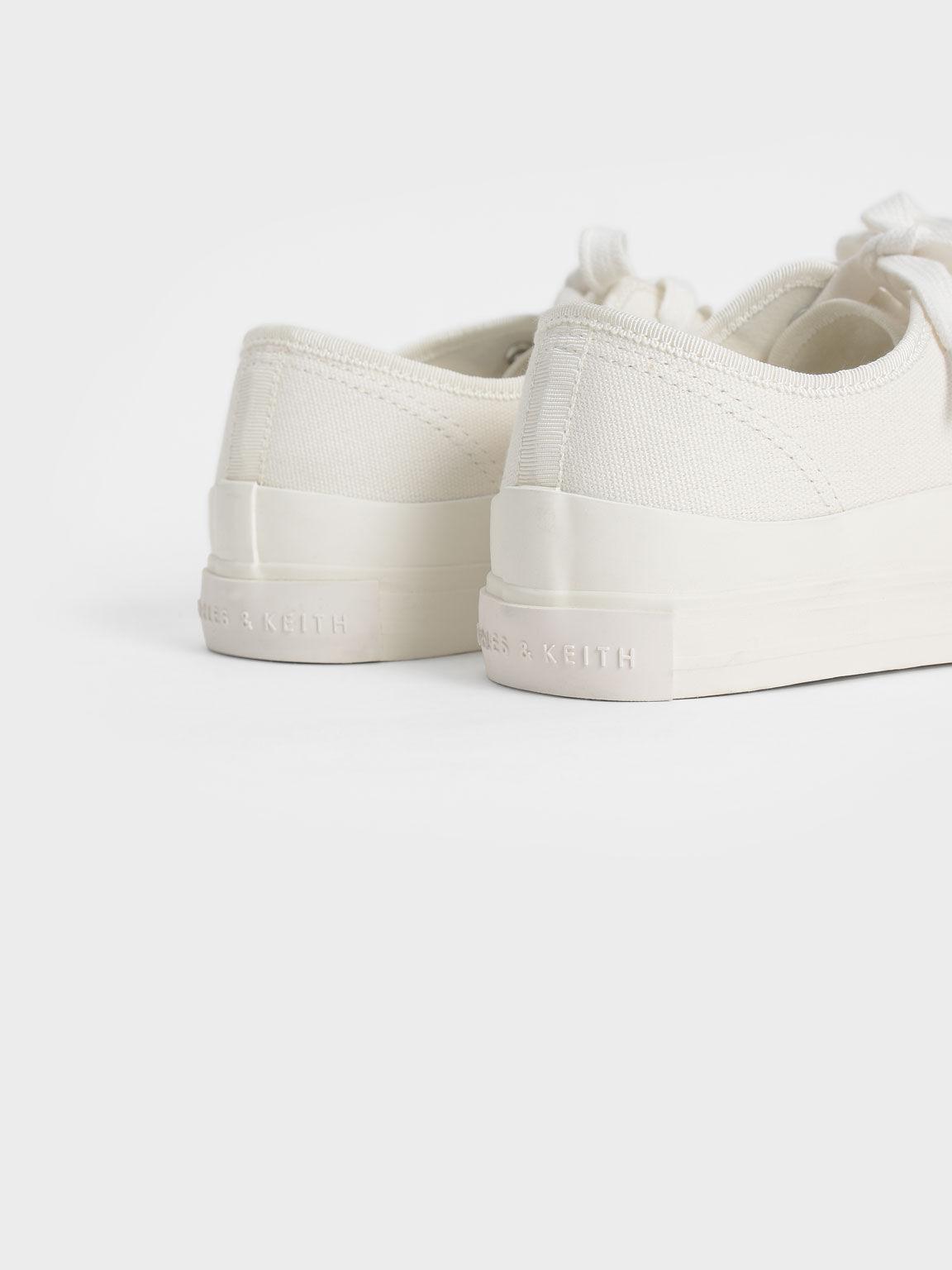 Organic Cotton Low-Top Sneakers, Chalk, hi-res