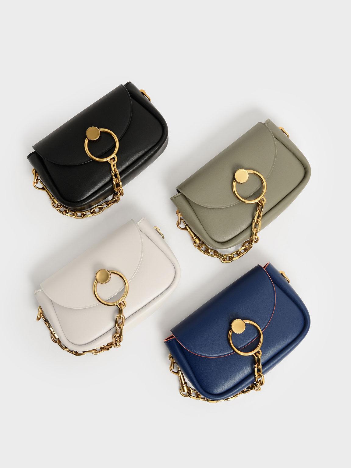 Chunky Chain-Link Crossbody Bag, Navy, hi-res