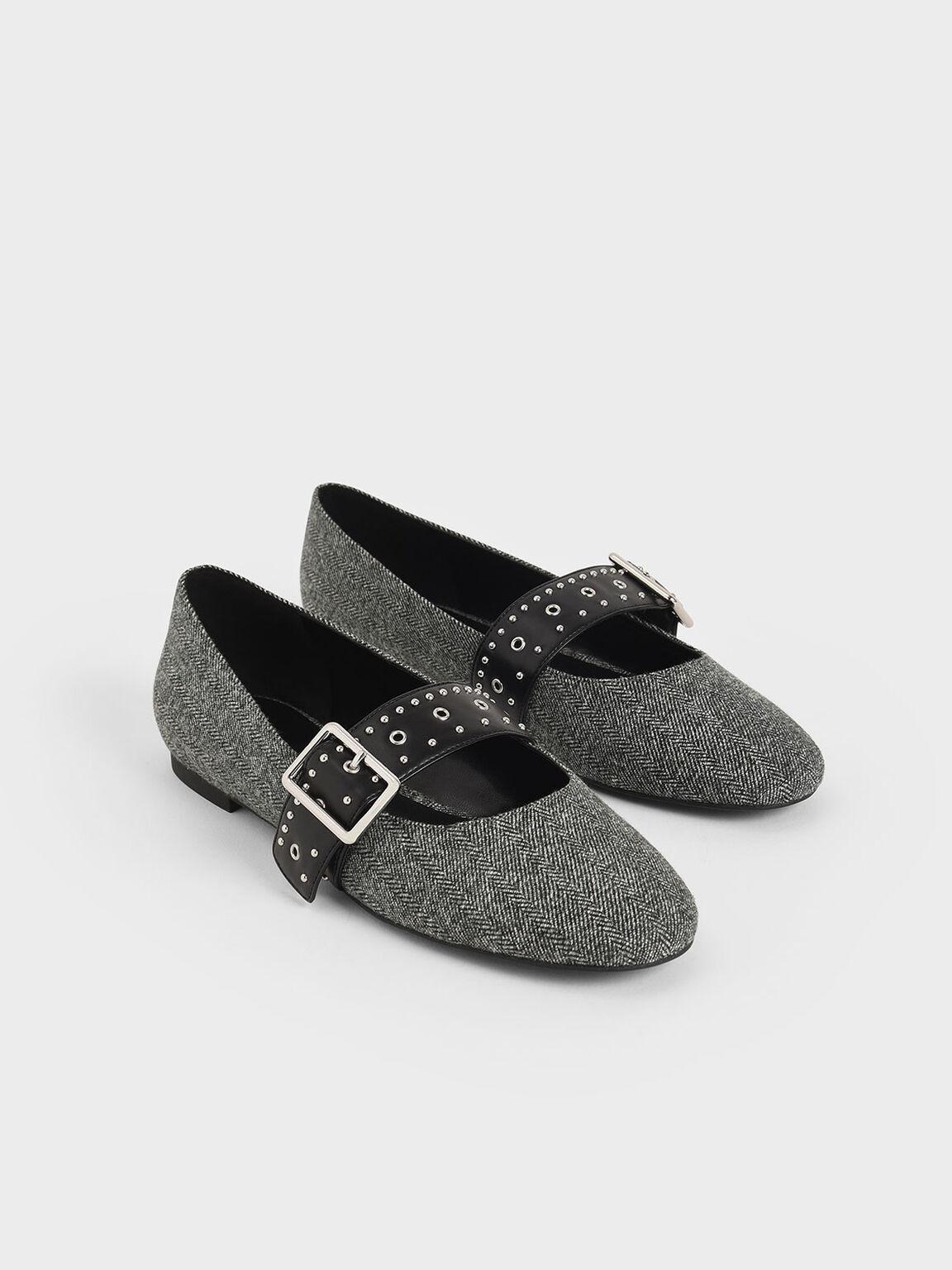 Woven Studded Mary Jane Flats, Dark Grey, hi-res