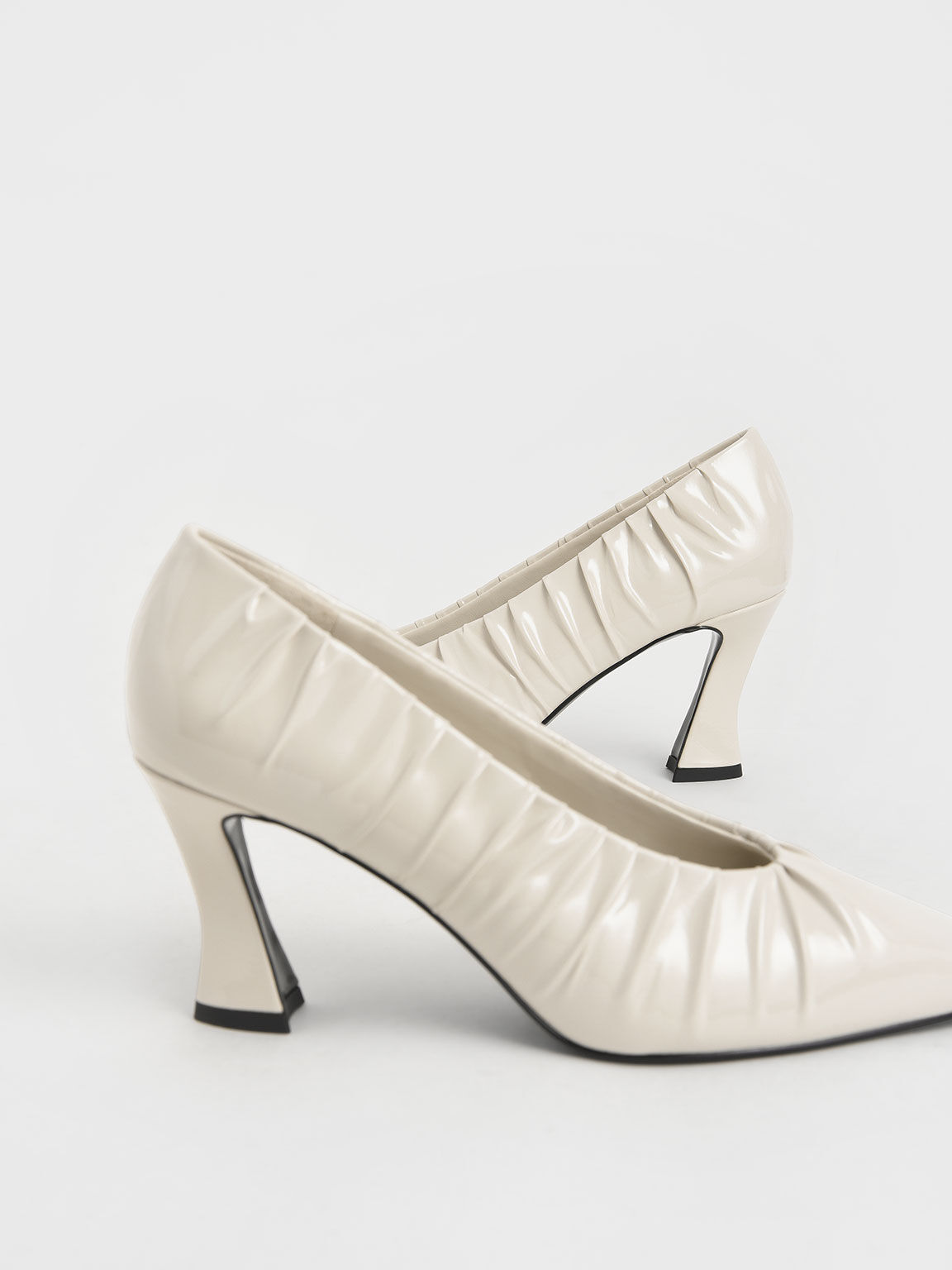 Limited Edition: Patent Ruched V-Cut Pumps, Cream, hi-res