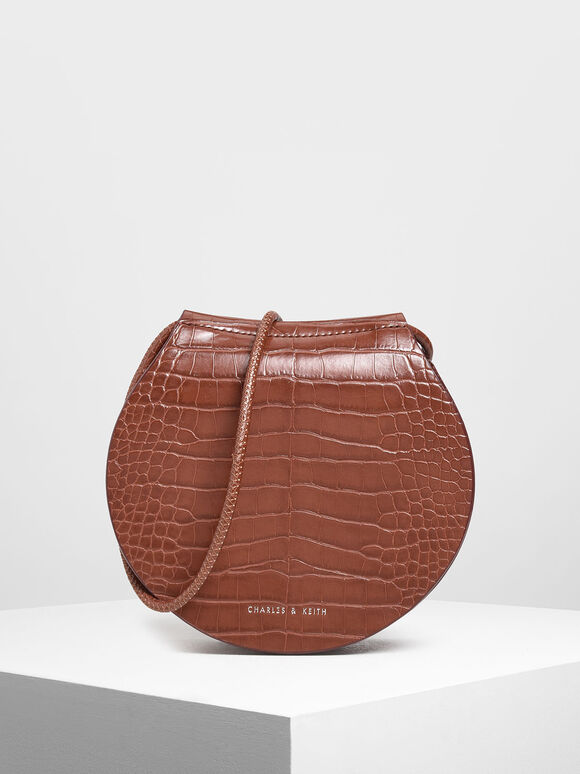 Semi Circle Croc-Effect Crossbody Bag, Burgundy, hi-res