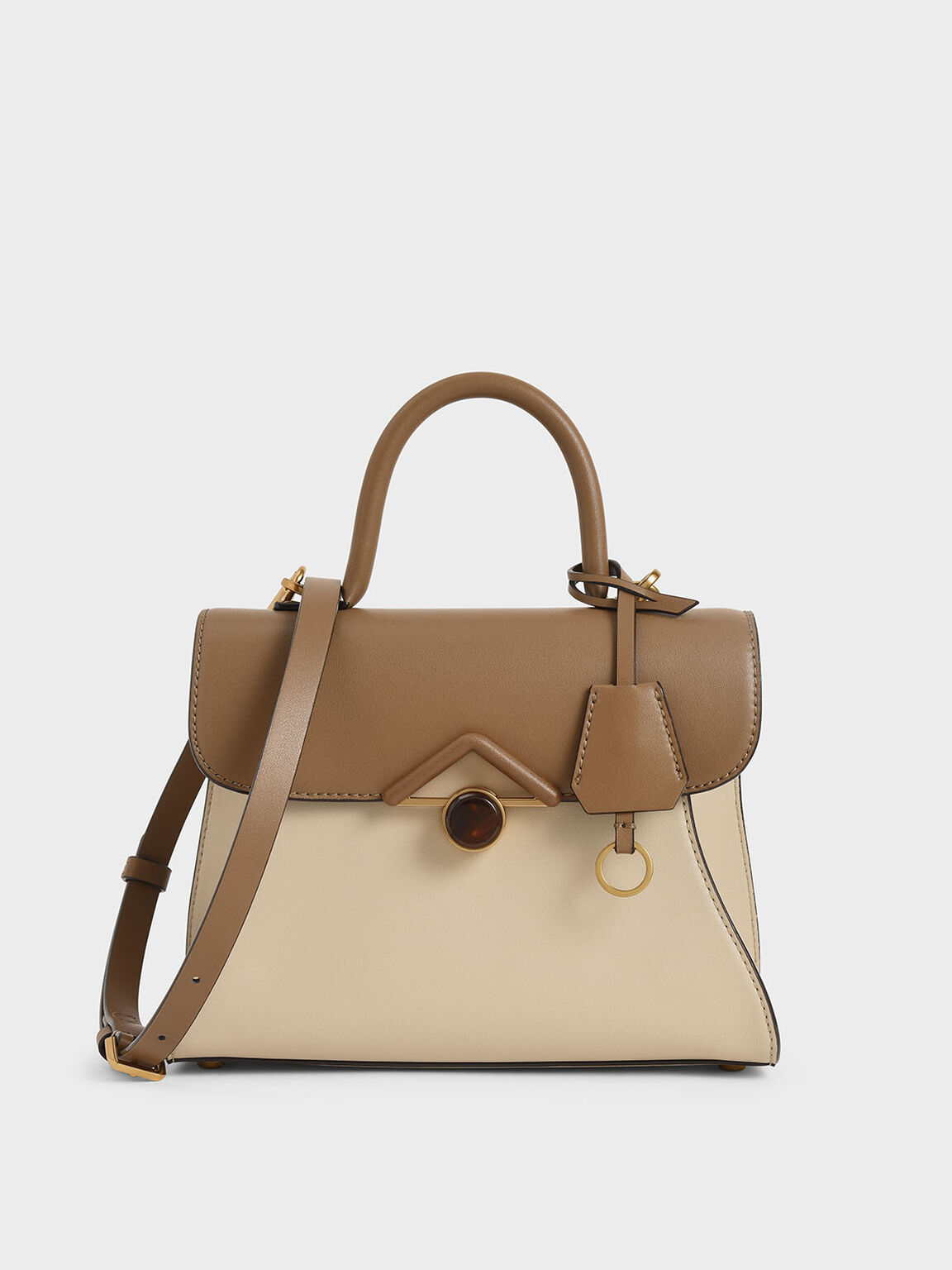 Stone Embellished Handbag, Khaki, hi-res