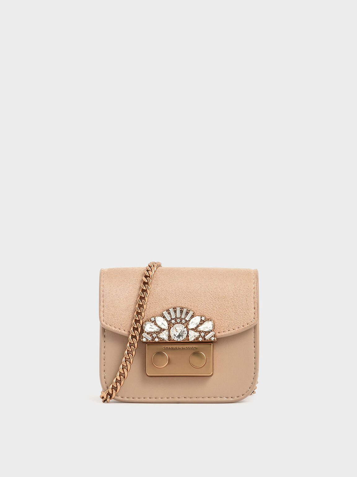 Mini Embellished Buckle Key Pouch, Beige, hi-res