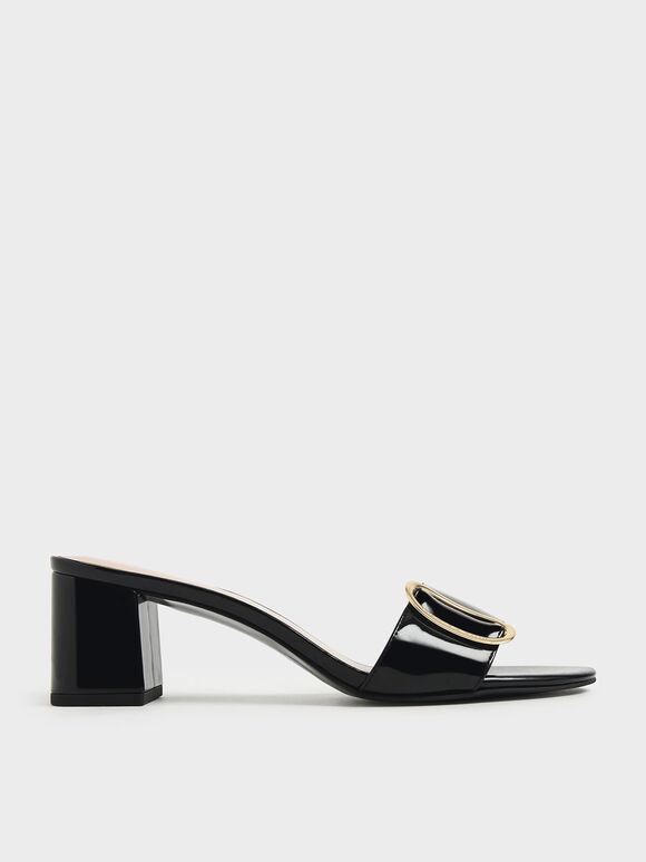 Oversized Buckle Patent Slide Sandals, Black, hi-res
