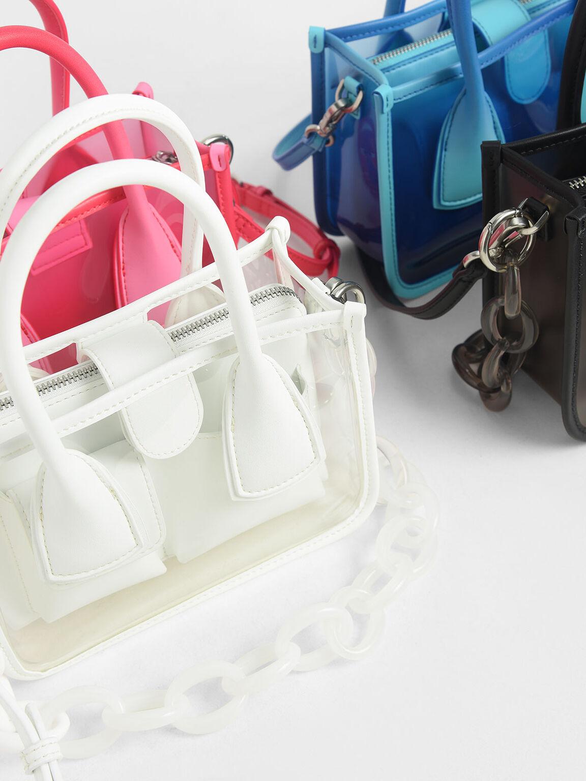 See-Through Effect Handbag, Red, hi-res