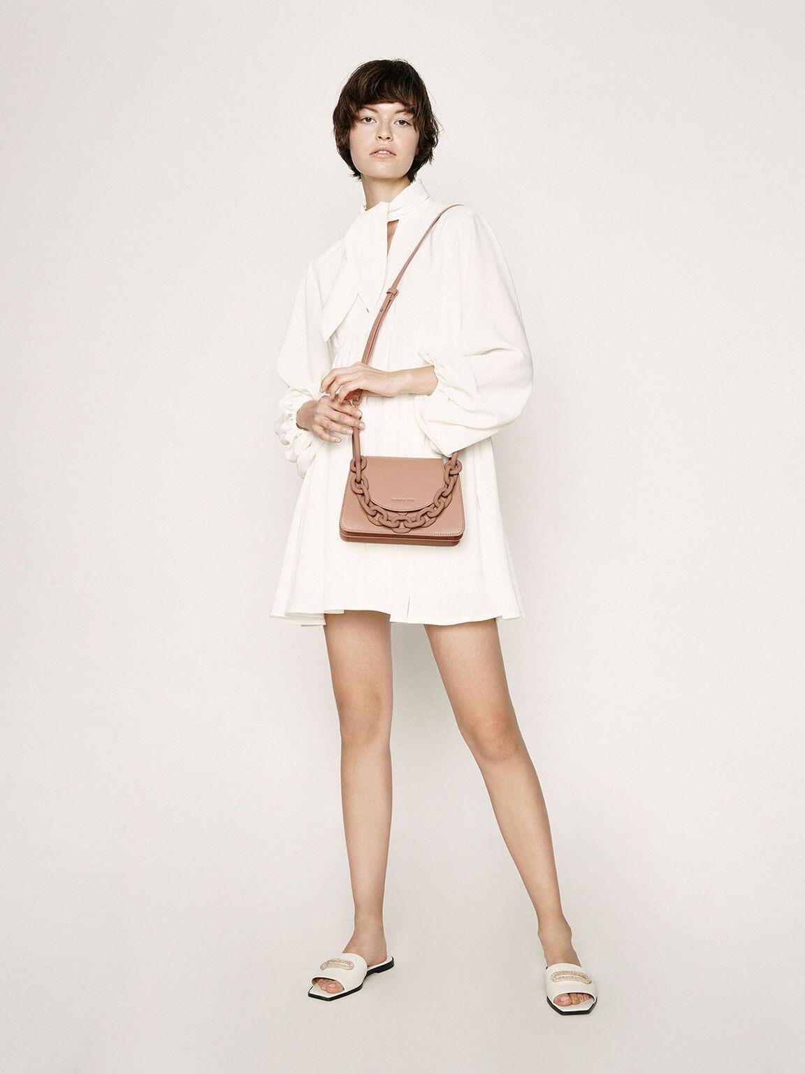 Chunky Chain Link Small Shoulder Bag, Blush, hi-res