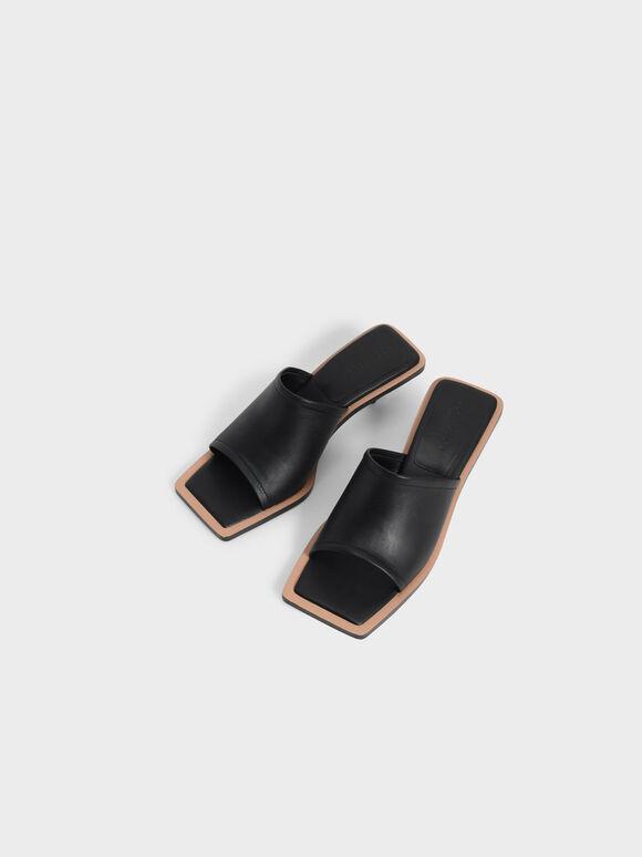 Leather Sculptural Heel Mules, Black, hi-res