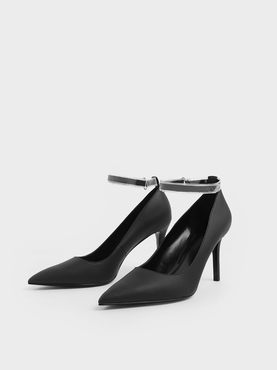 See-Through Effect Ankle Strap Stiletto Pumps, Black, hi-res
