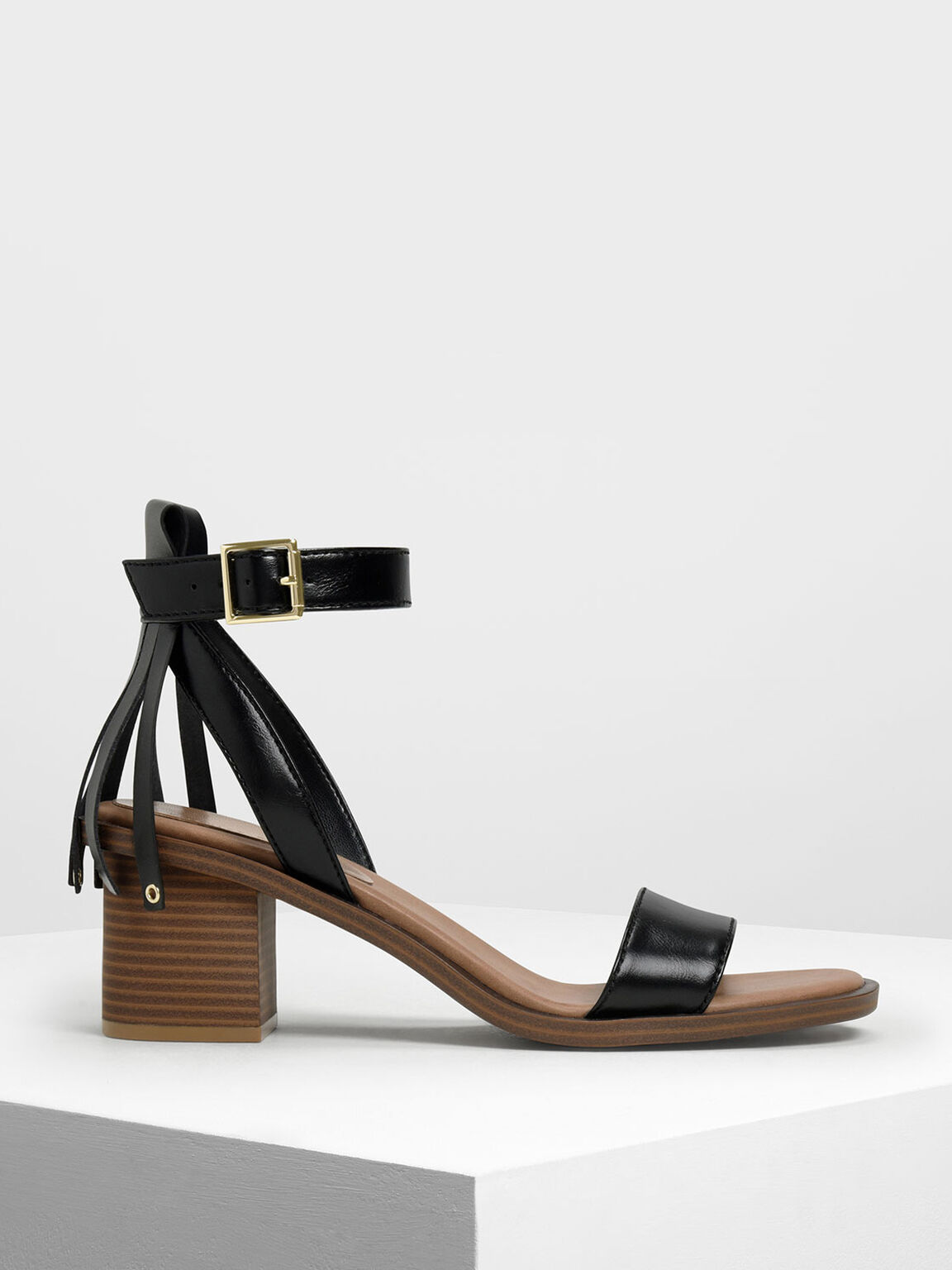 Fringe Trim Block Heel Sandals, Black, hi-res