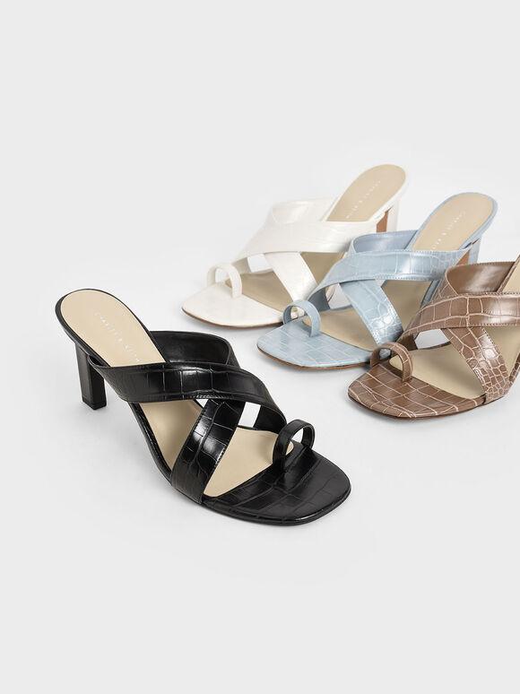 Croc-Effect Heeled Mules, Black, hi-res