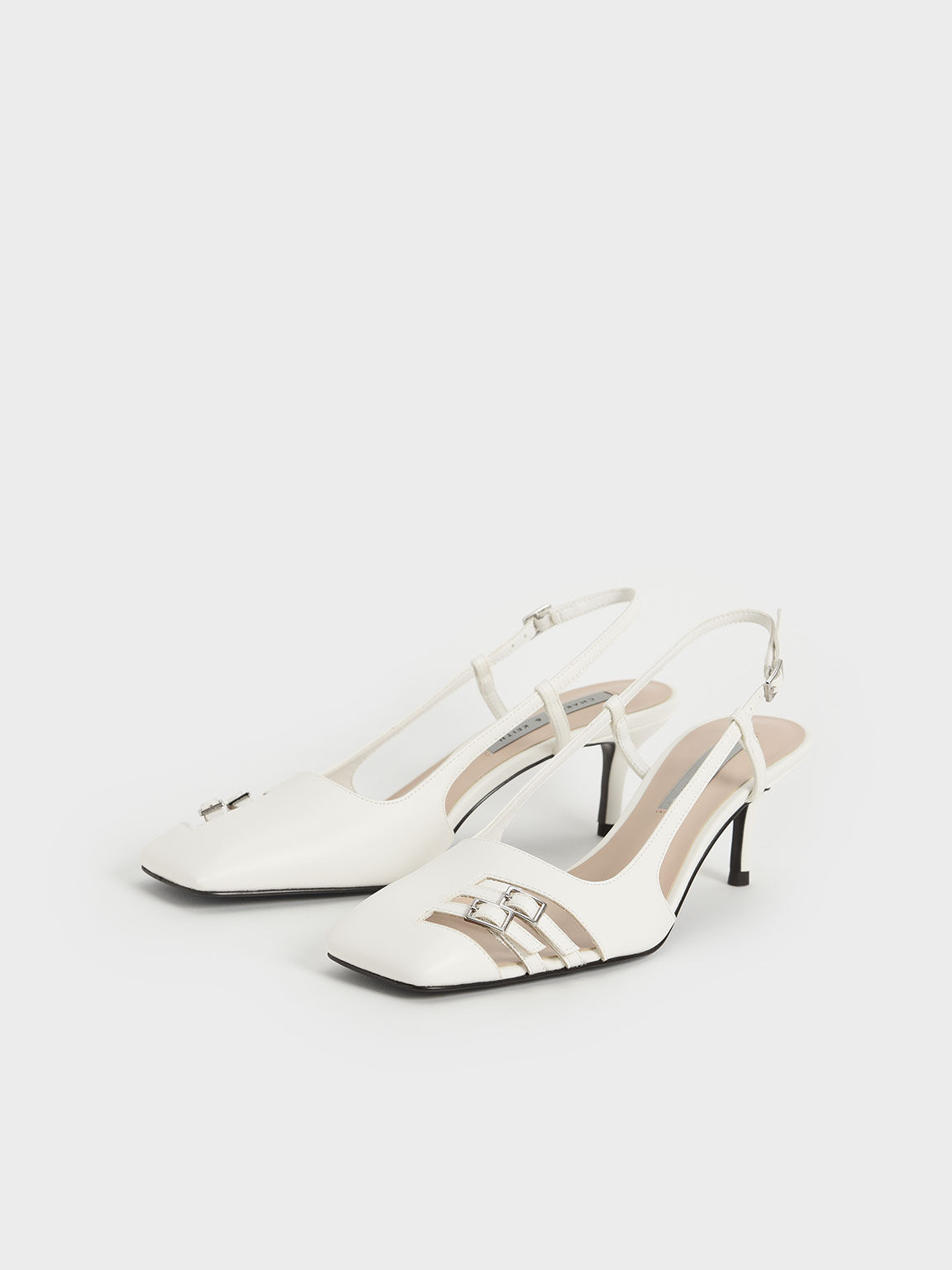 Cut-Out Buckled Slingback Court Shoes, White, hi-res
