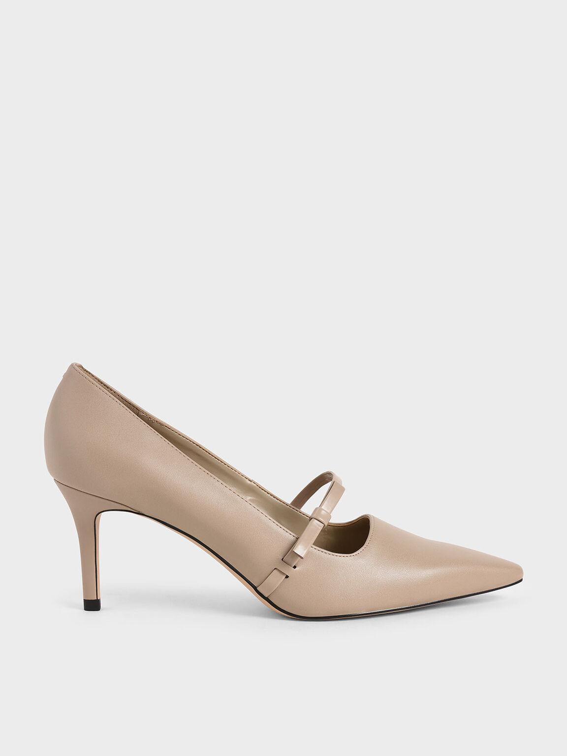 Mary Jane Stiletto Heel Court Shoes, Beige, hi-res