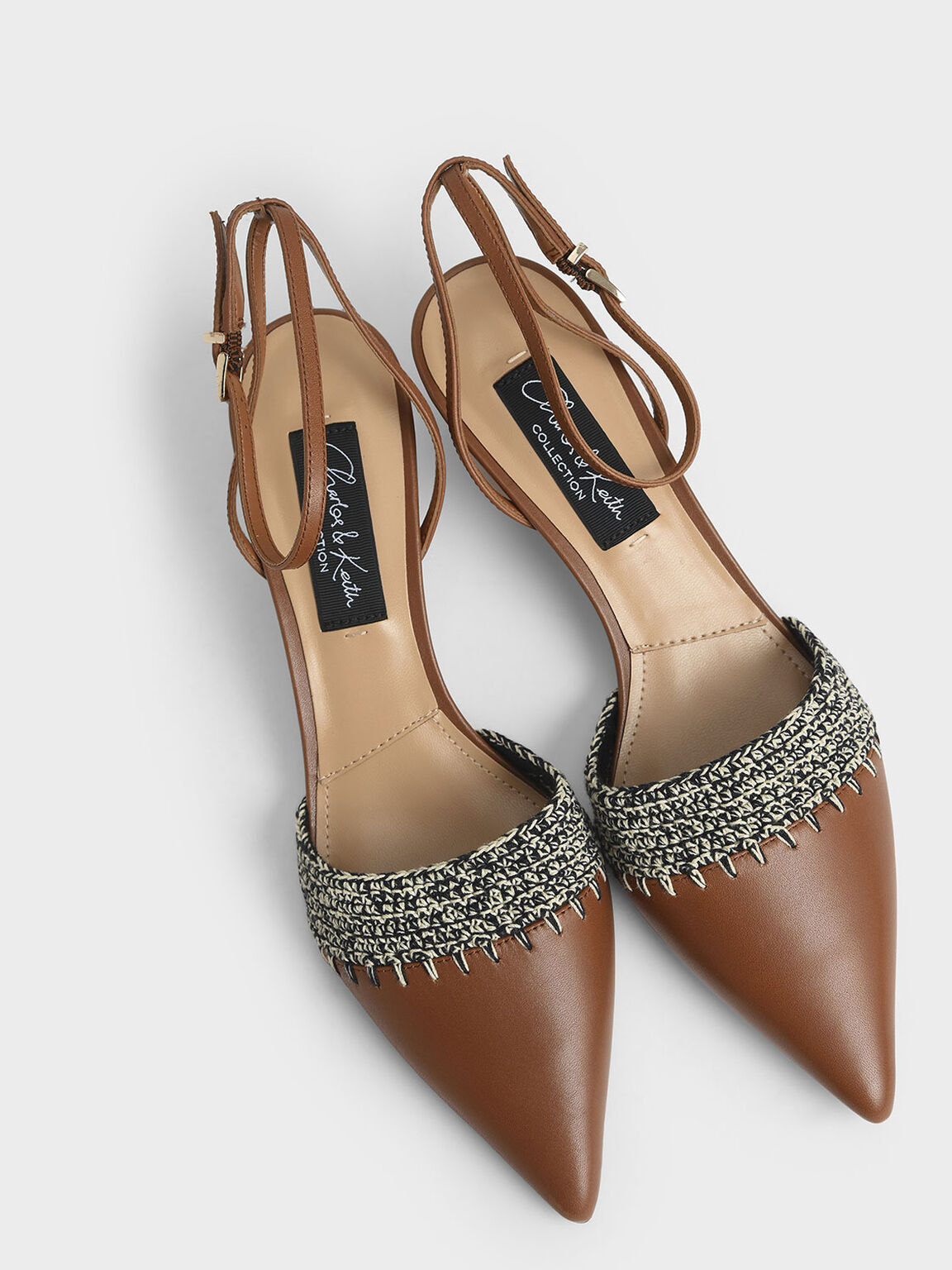Leather Crochet Pumps, Brown, hi-res
