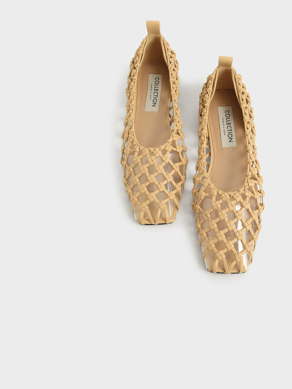 Woven Caged Ballerina Flats, Sand, hi-res
