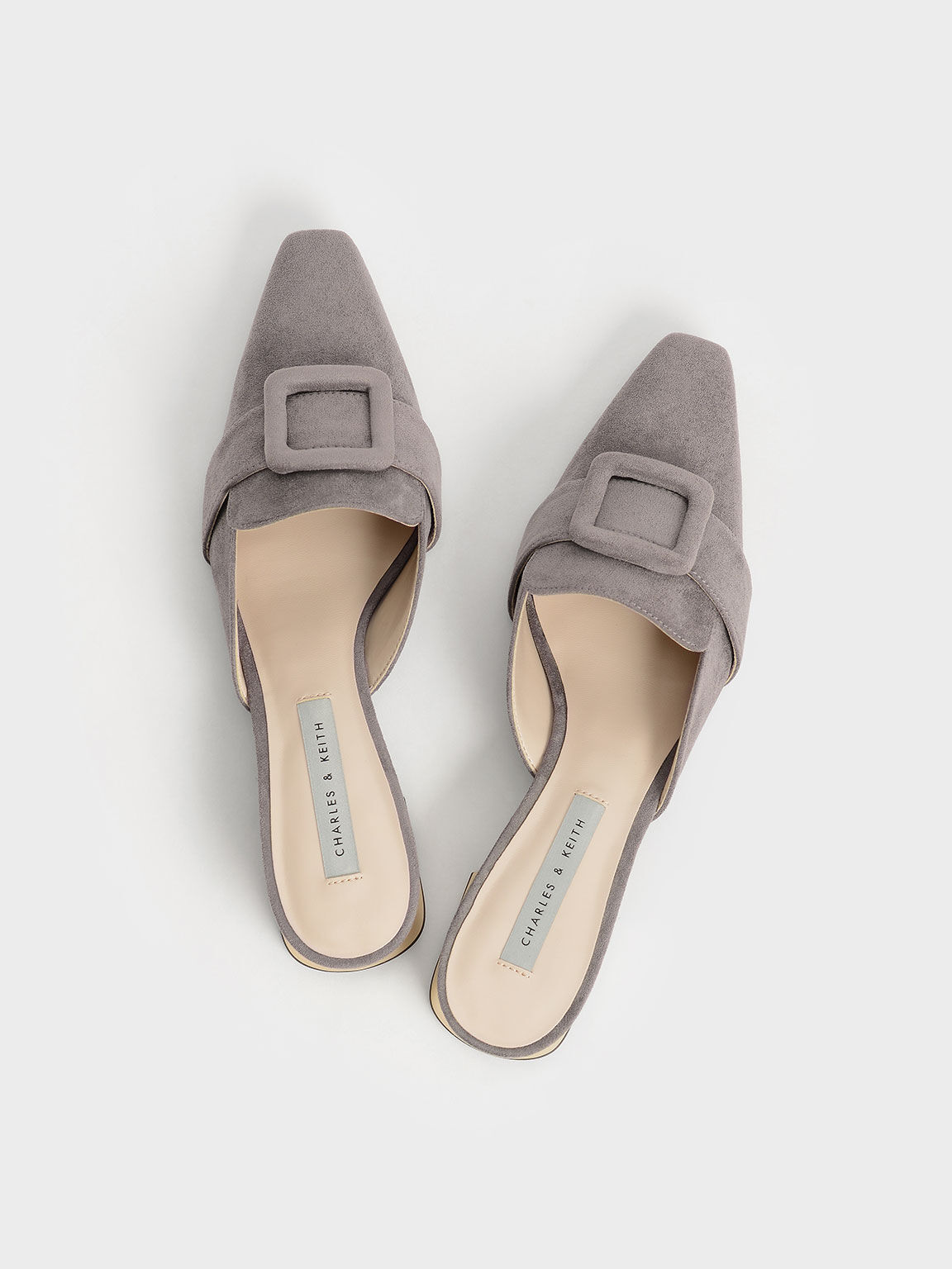 Textured Buckled Mules, Grey, hi-res