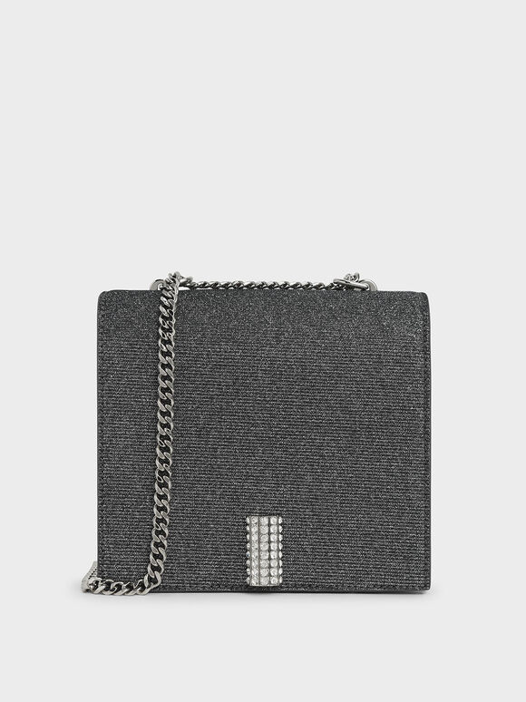 Glittered Square Crossbody Bag, Silver, hi-res