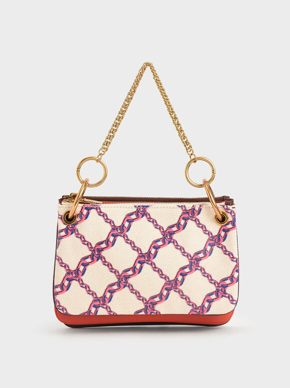 Printed Canvas Metallic Handle Crossbody Bag, Multi, hi-res