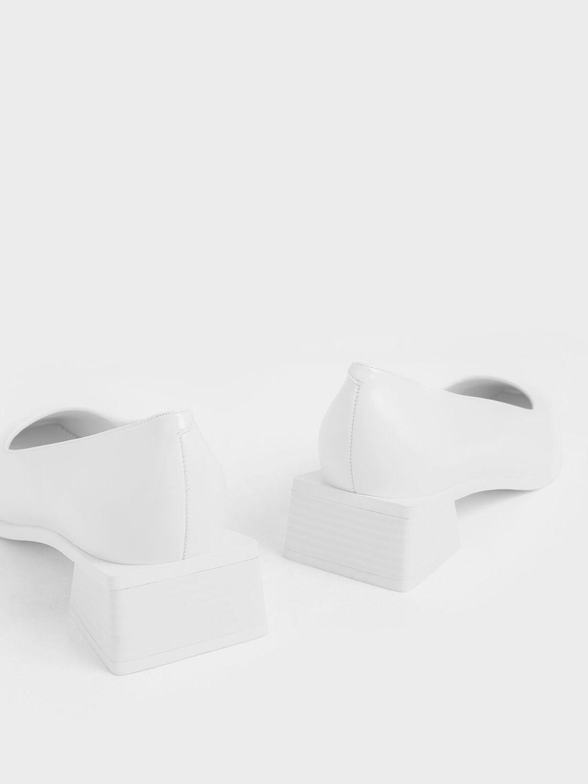 Square Toe Block Heel Pumps, White, hi-res