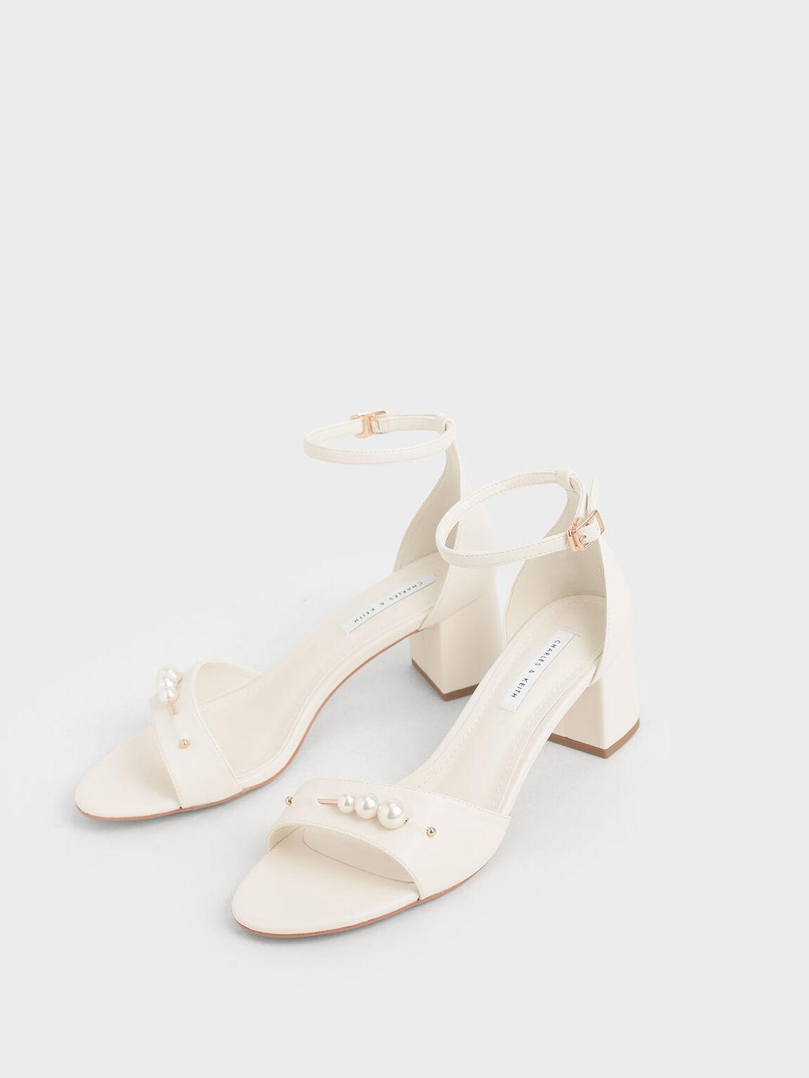 Embellished Block Heel Sandals, Chalk, hi-res