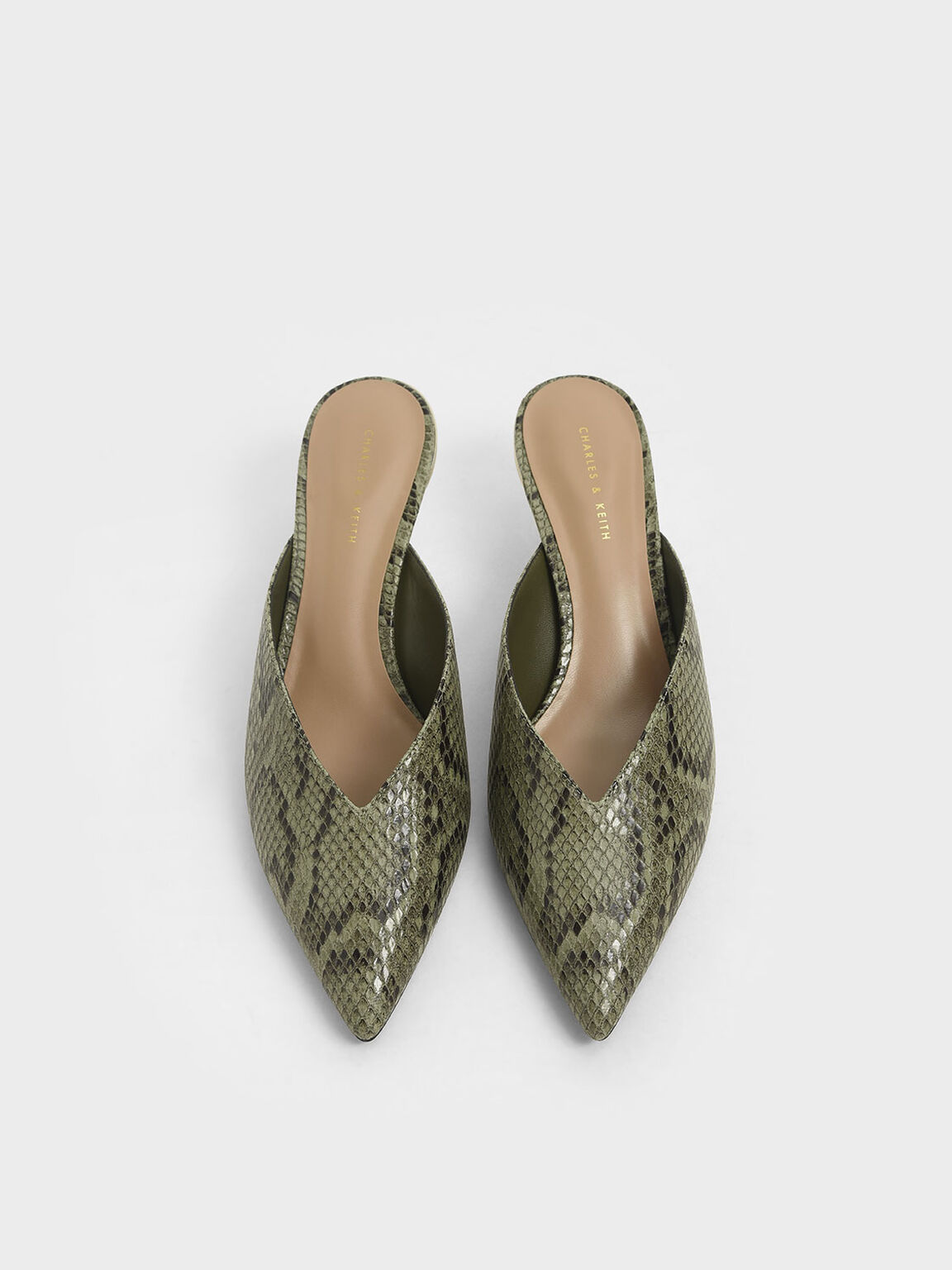 Snake Print Pointed Toe Mules, Animal Print Green, hi-res