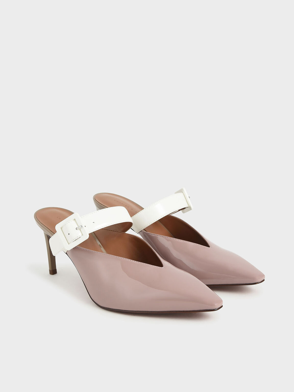 Patent Mary Jane Strap Stiletto Mules, Mauve, hi-res