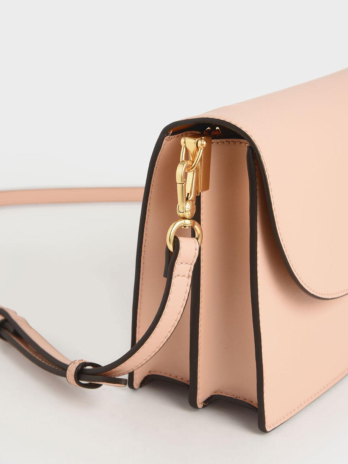 Angular Flap Shoulder Bag, Pink, hi-res