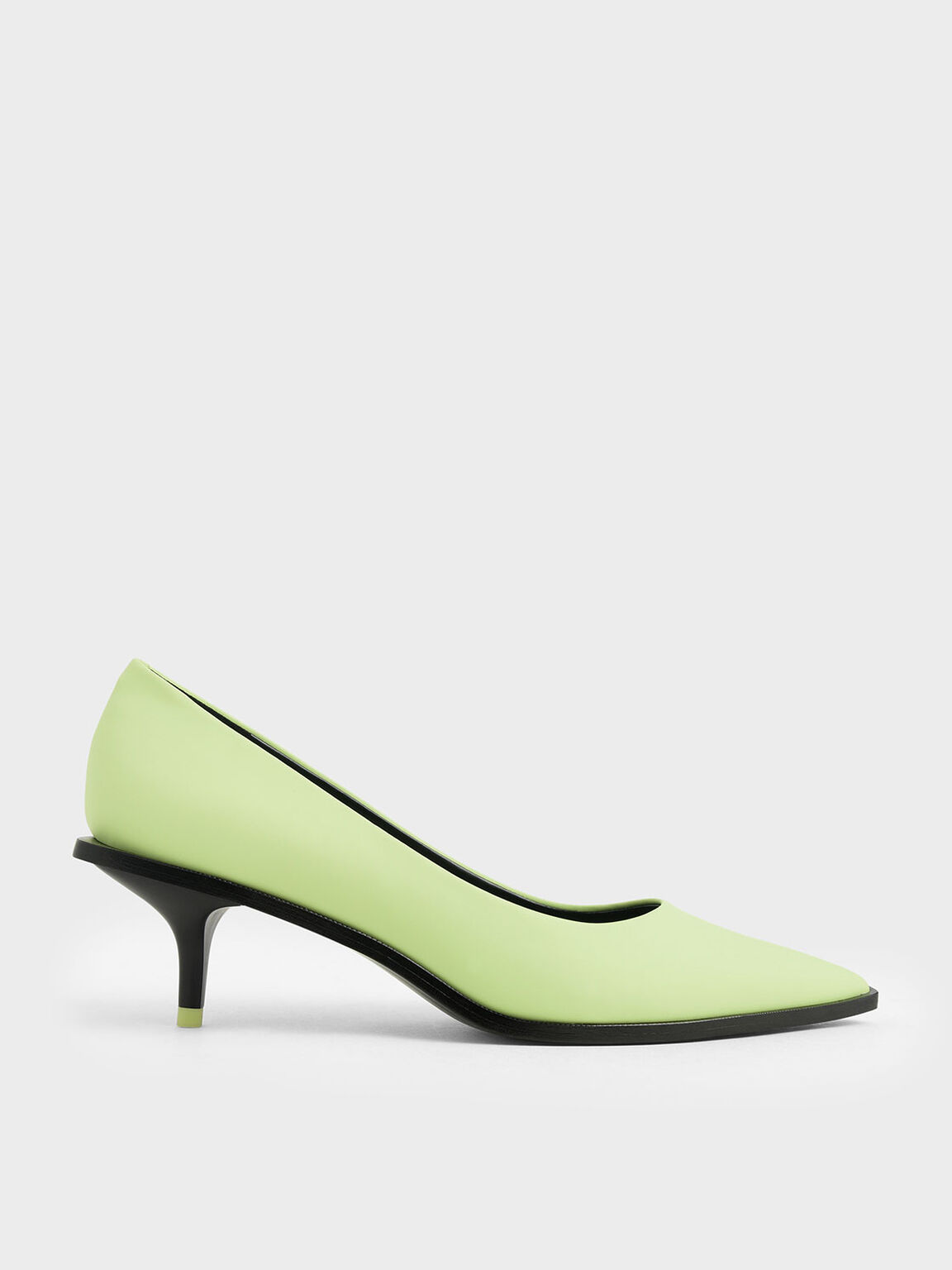 Two-Tone Pointed Toe Mini Heel Pumps, Yellow, hi-res