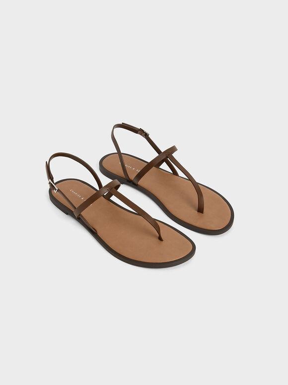 T-Bar Slingback Sandals, Brown, hi-res
