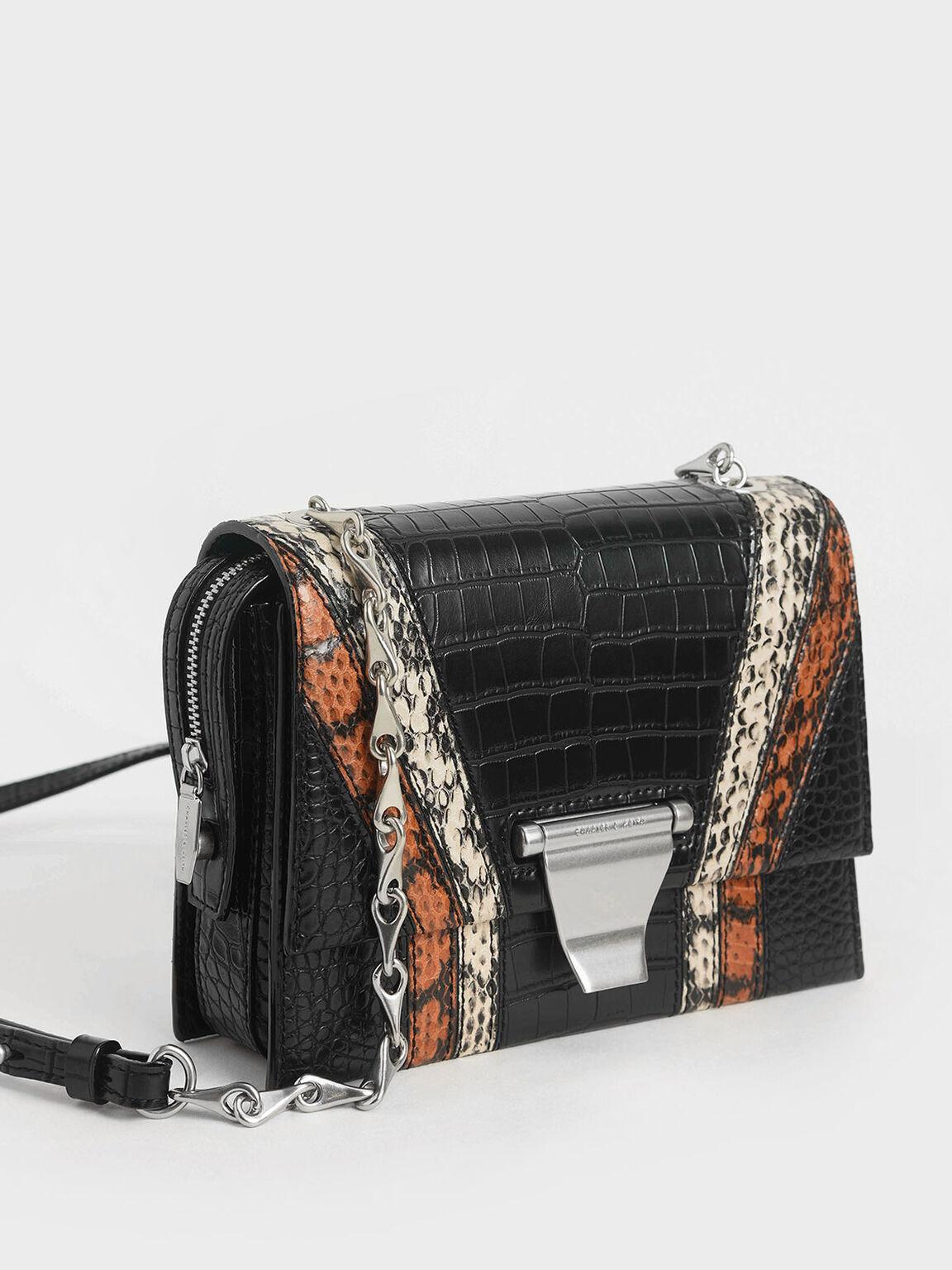 Animal Print Metal Push-Lock Crossbody Bag, Multi, hi-res