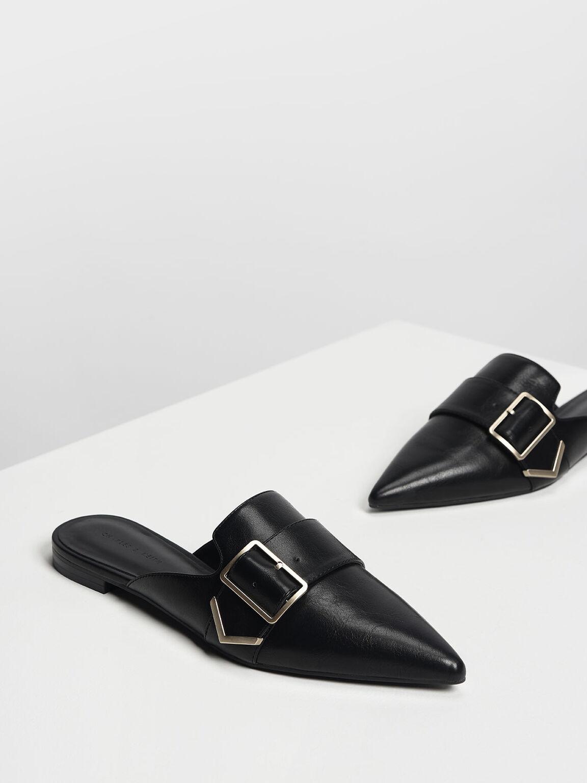 Metallic Detail Pointed Mules, Black, hi-res