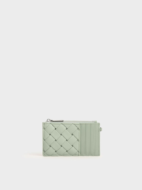 Woven Multi-Slot Card Holder, Mint Green, hi-res