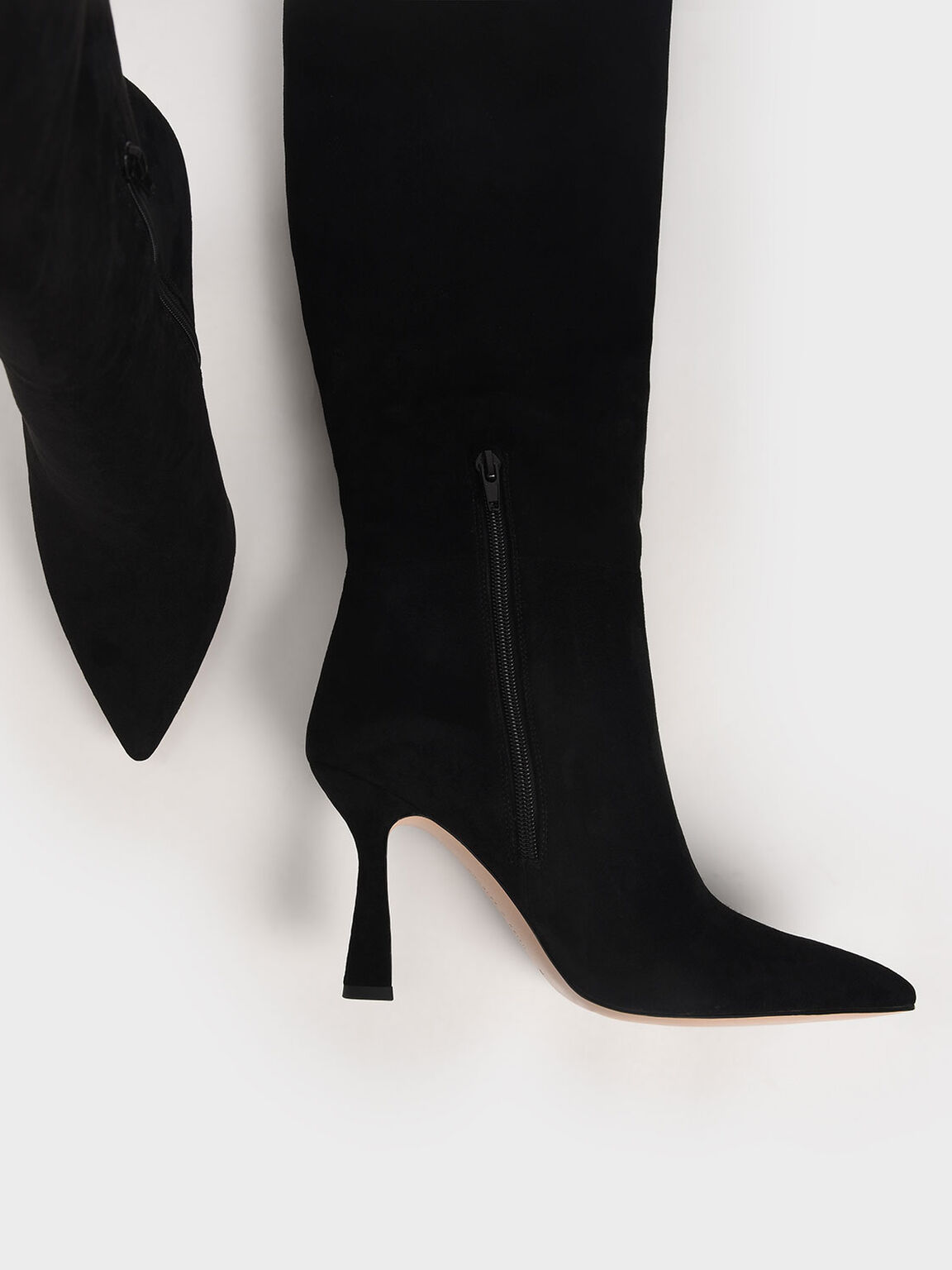 Textured Sculptural Heel Knee High Boots, Black, hi-res