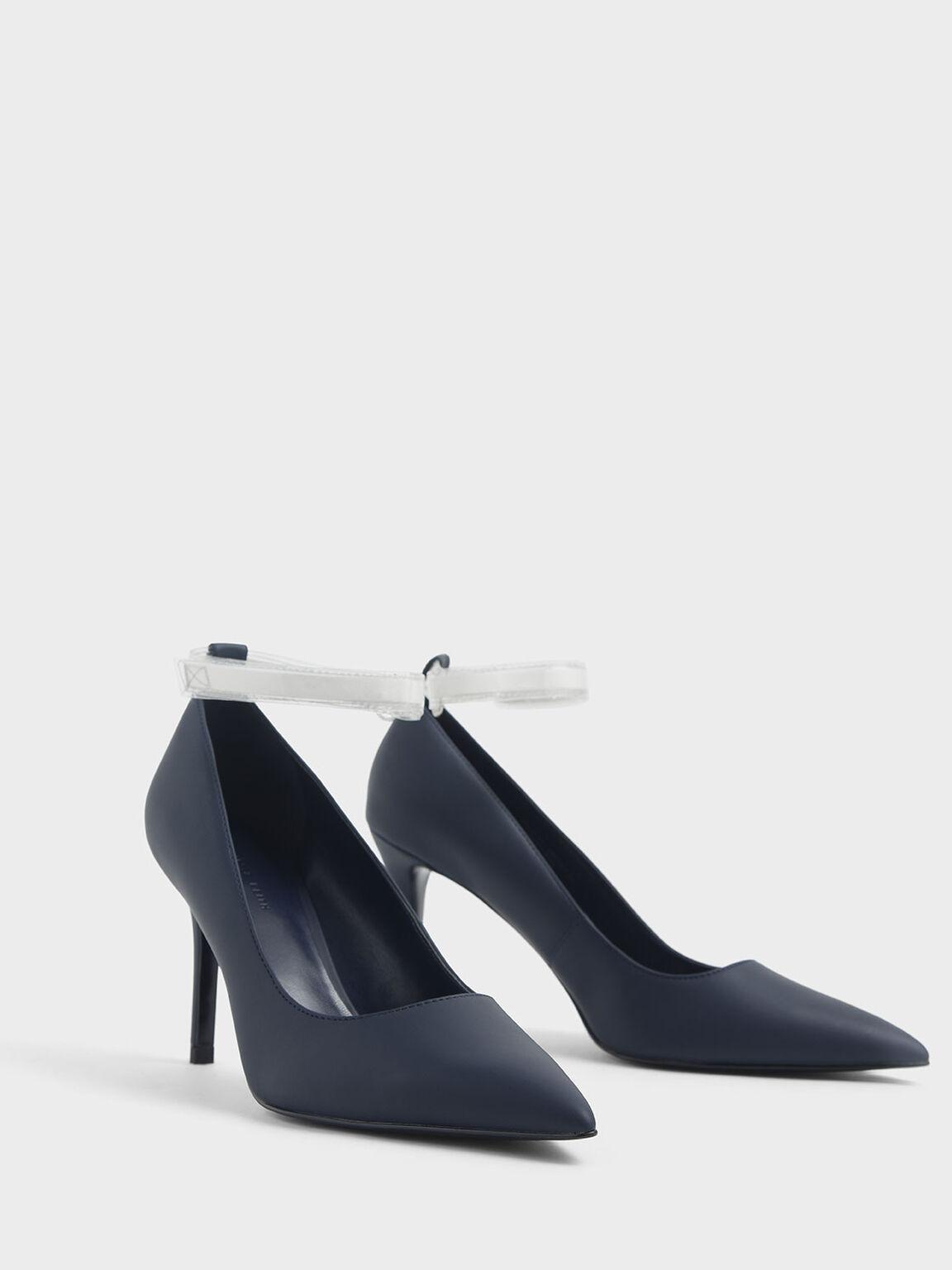 Clear Ankle Strap Stiletto Pumps, Dark Blue, hi-res