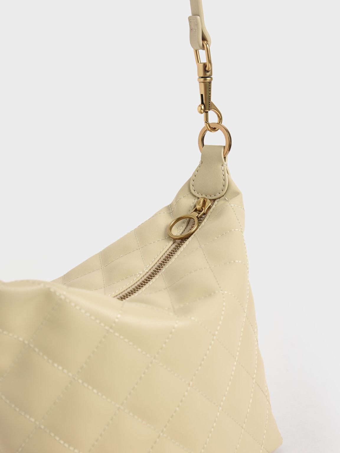 Quilted Hobo Bag, Sand, hi-res