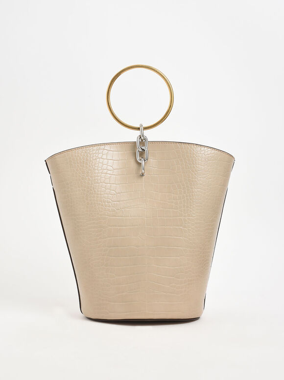 Croc-Effect Large Bracelet Bucket Bag, Beige, hi-res