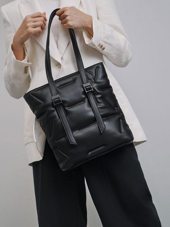 Puffer Double Handle Tote Bag, Ultra-Matte Black, hi-res