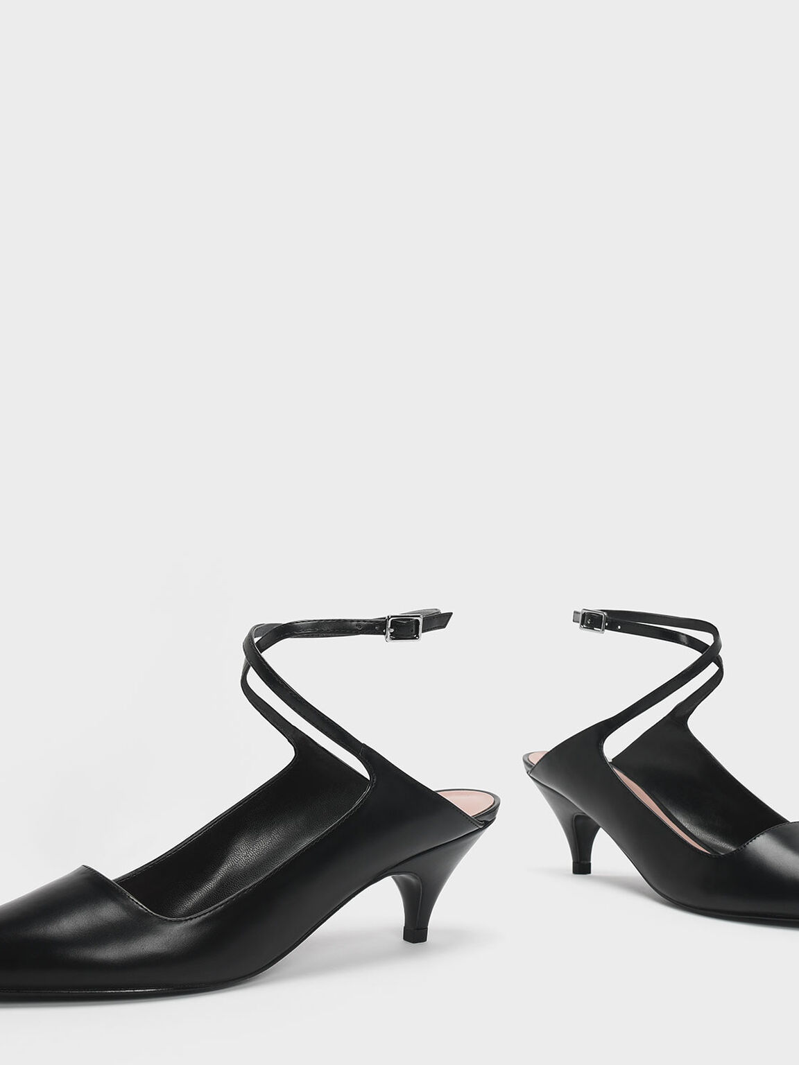 Criss Cross Ankle Strap Kitten Heel Pumps, Black, hi-res