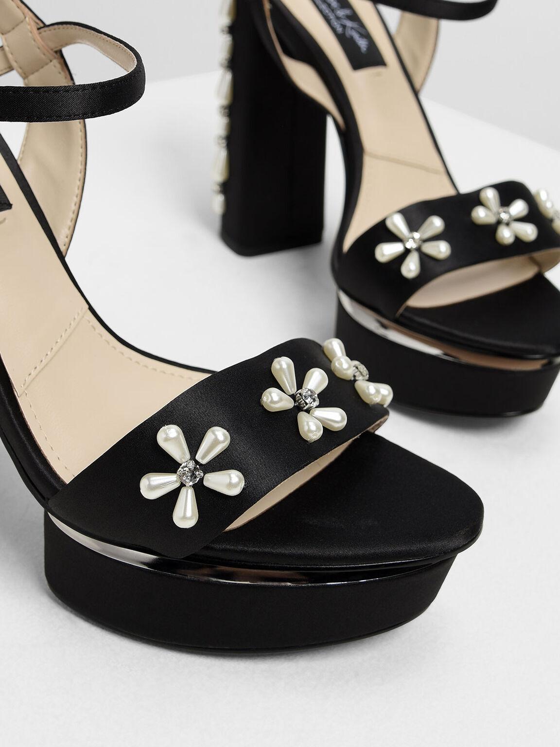 Floral Embellished Satin Platforms, Black, hi-res