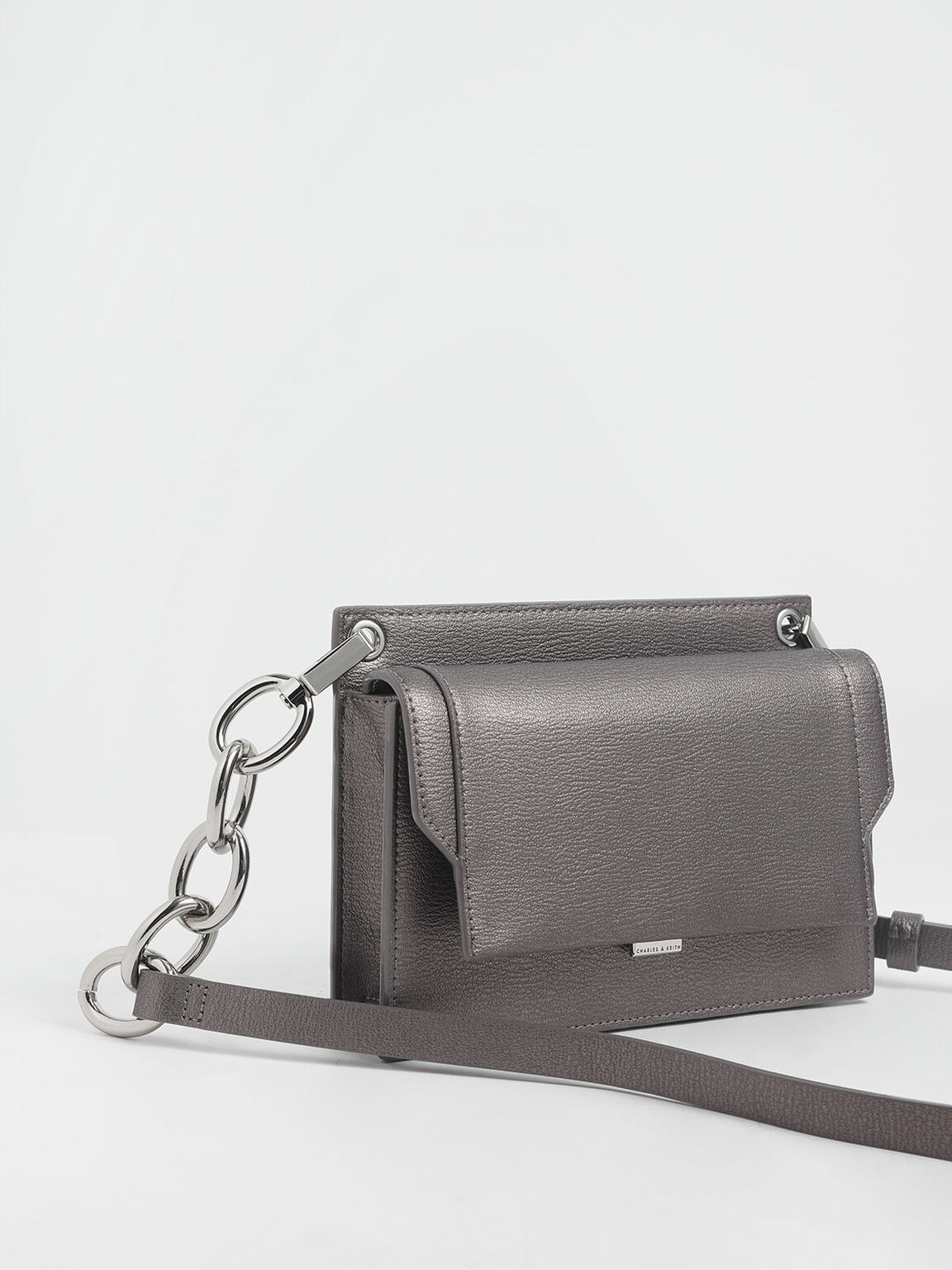 Eyelet Embossed Push Lock Clutch, Pewter, hi-res