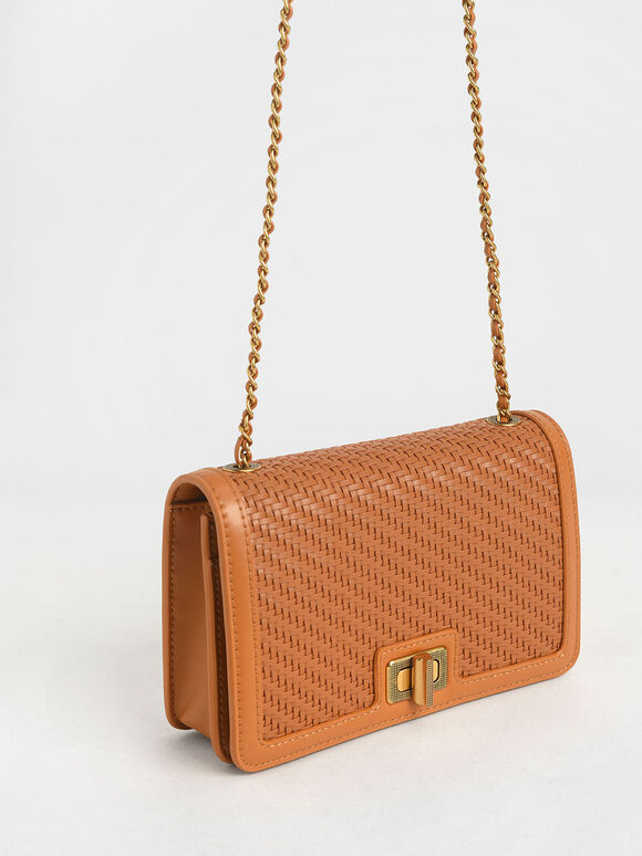 Woven Turn-Lock Clutch, Cognac, hi-res