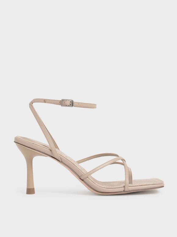 Ankle Strap Stiletto Sandals, Beige, hi-res
