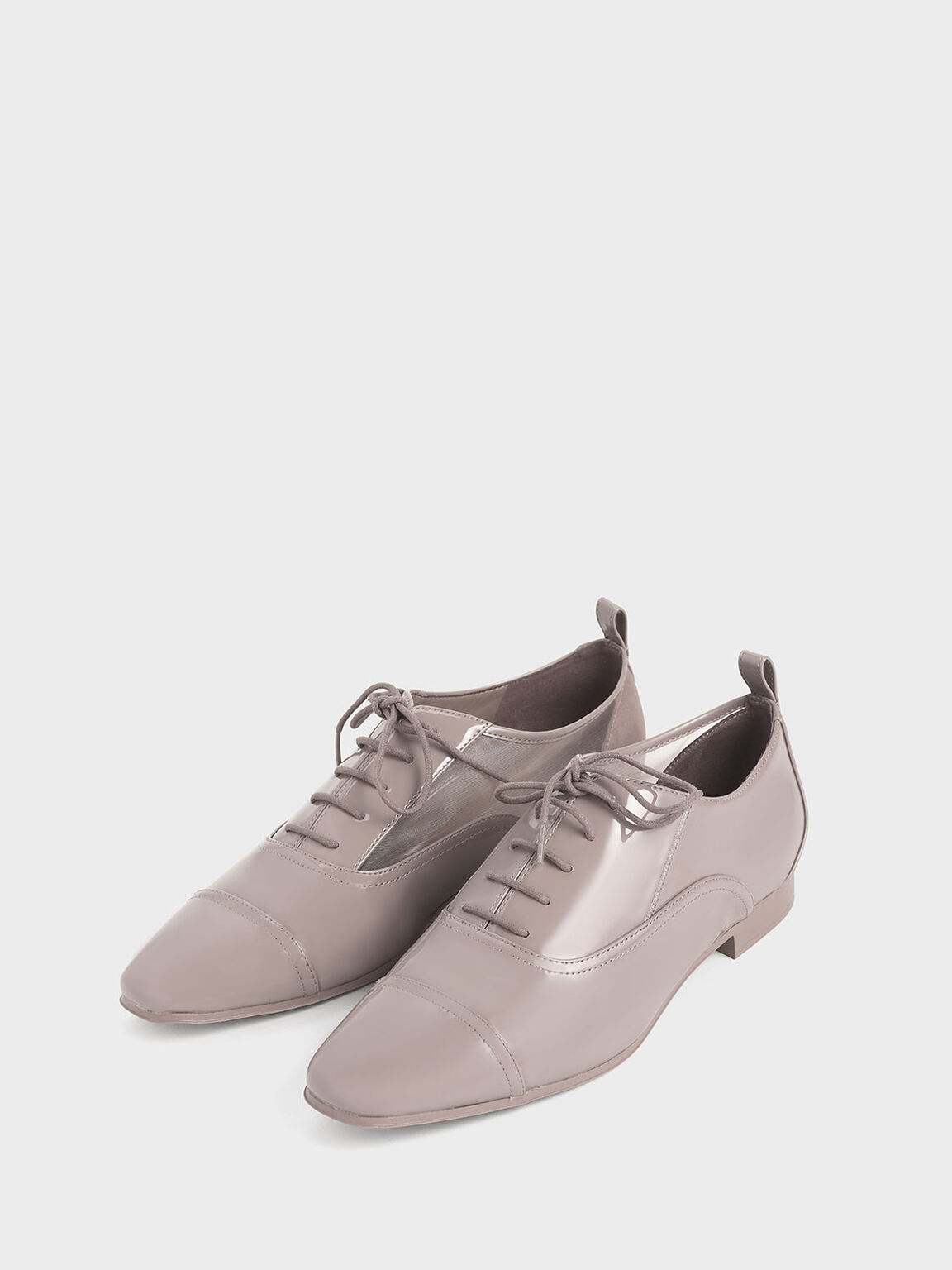 Patent Mesh Oxford Shoes, Nude, hi-res