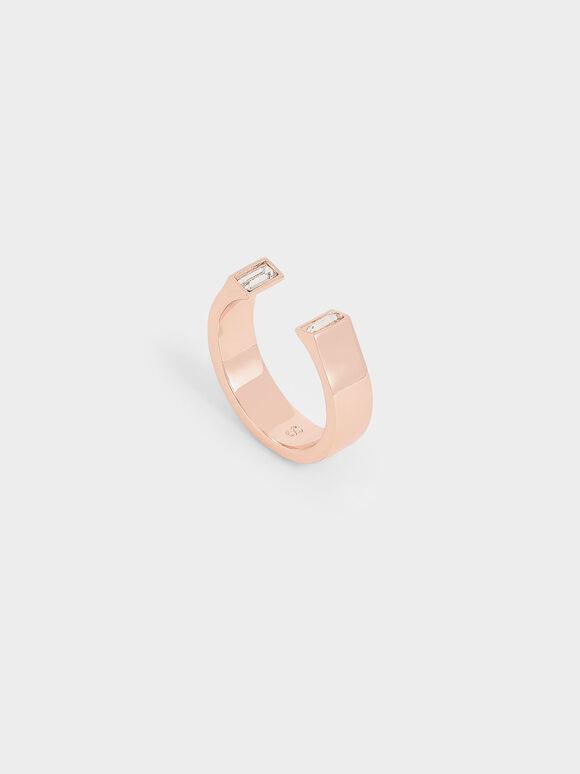 Swarovski® Crystal Open Ring, Rose Gold, hi-res