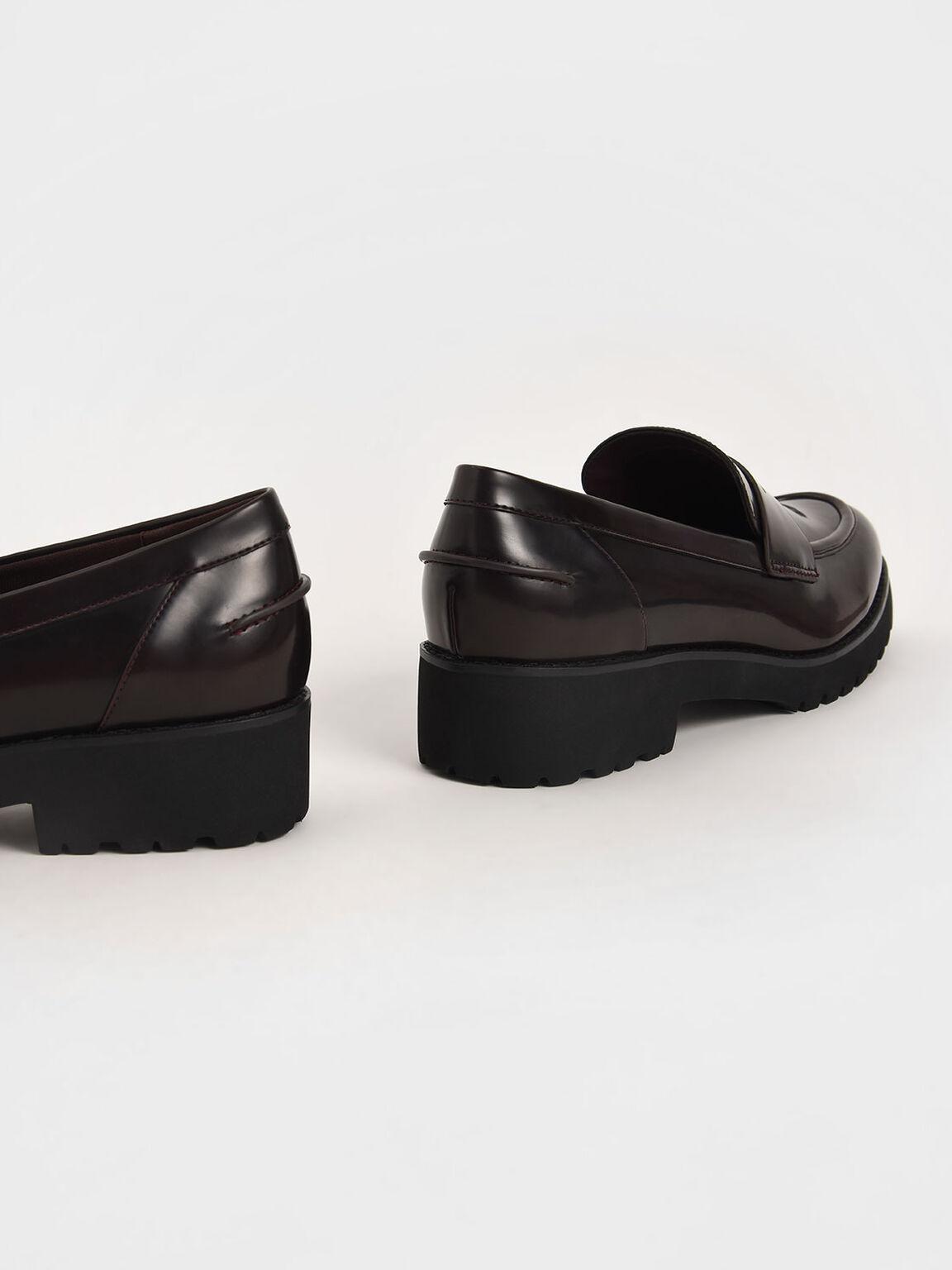 Platform Penny Loafers, Burgundy, hi-res