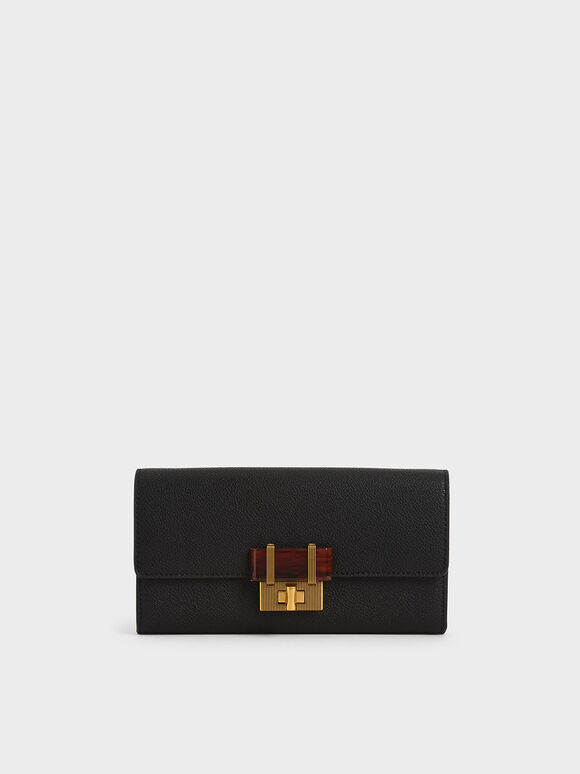 Stone-Embellished Long Wallet, Black, hi-res