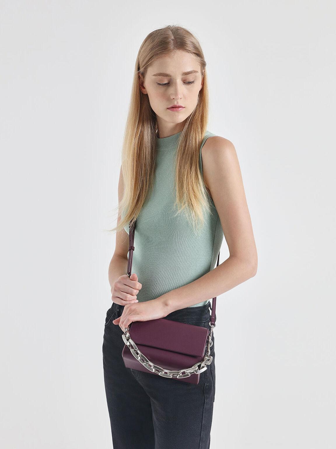 Chunky Chain Handle Crossbody Bag, Prune, hi-res