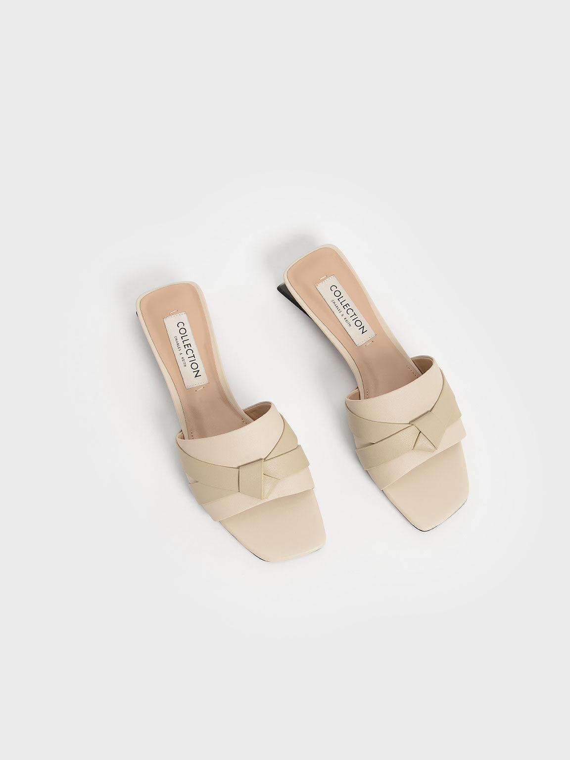 Leather Bow-Tie Trapeze Heel Mules, Chalk, hi-res