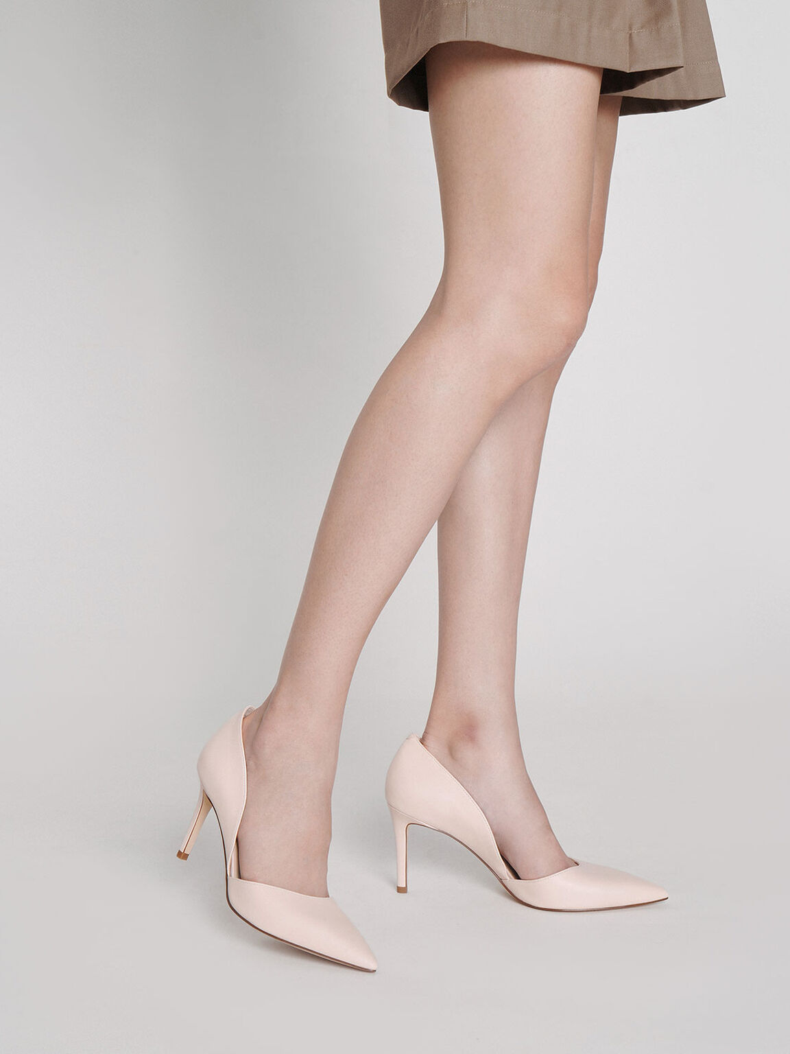 Pointed D'Orsay Pumps, Pink, hi-res