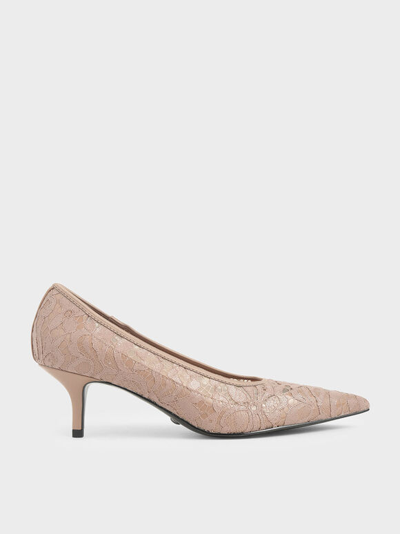 Lace Pointed Pumps, Nude, hi-res